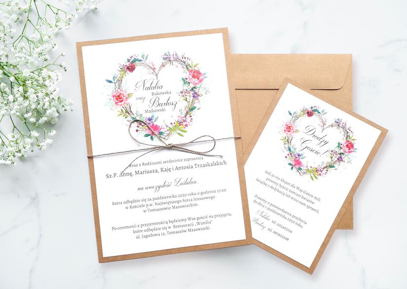 Zaproszenie ślubne NE-02 - Serce z kwiatów
